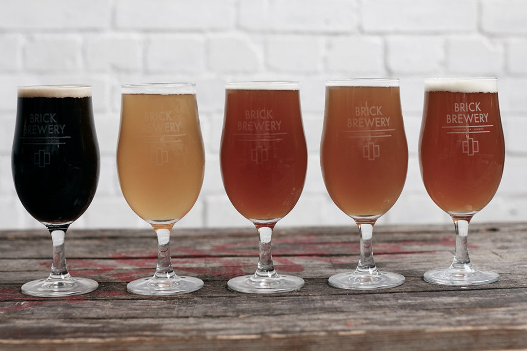 Various glasses of Brick Brewery's Beer