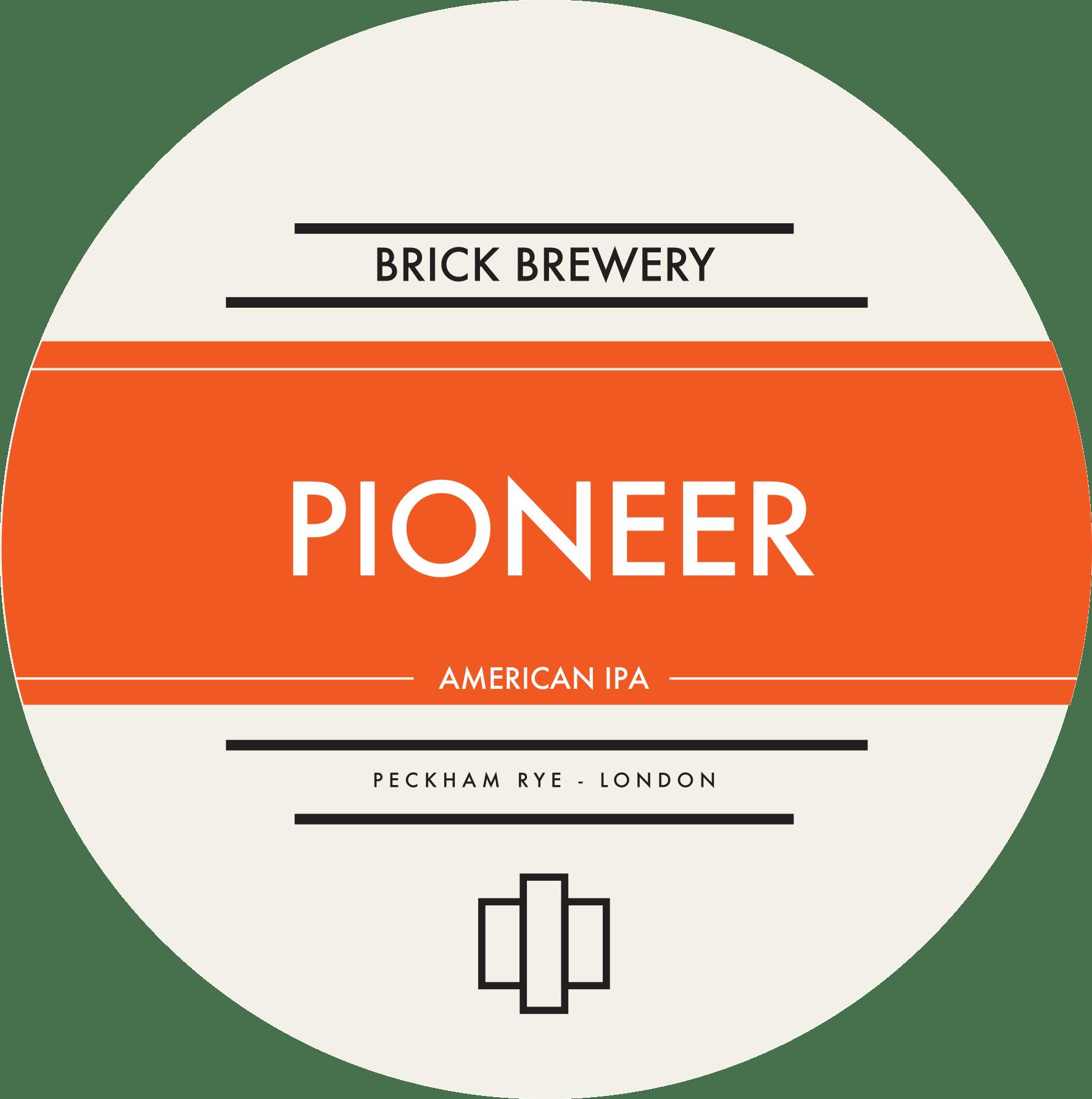 Brick Brewery's Pioneer American IPA Beer Logo