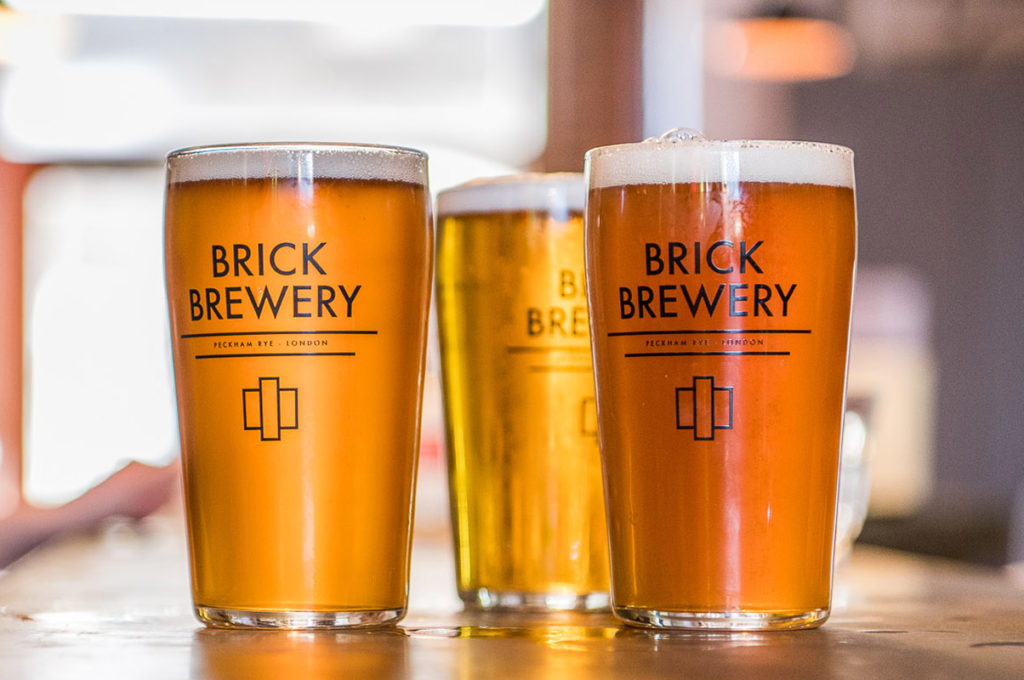 Brick Brewery Pint Glasses full of beer